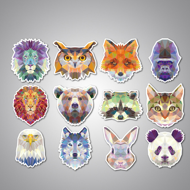 35pcs loin fox wolf panda sloth avatar stickers mixed funny cartoon geometry galaxy animal laptop stickers
