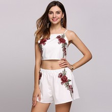 Spaghetti Strap Embroidery Back Lace Up Crop Top and Shorts Set