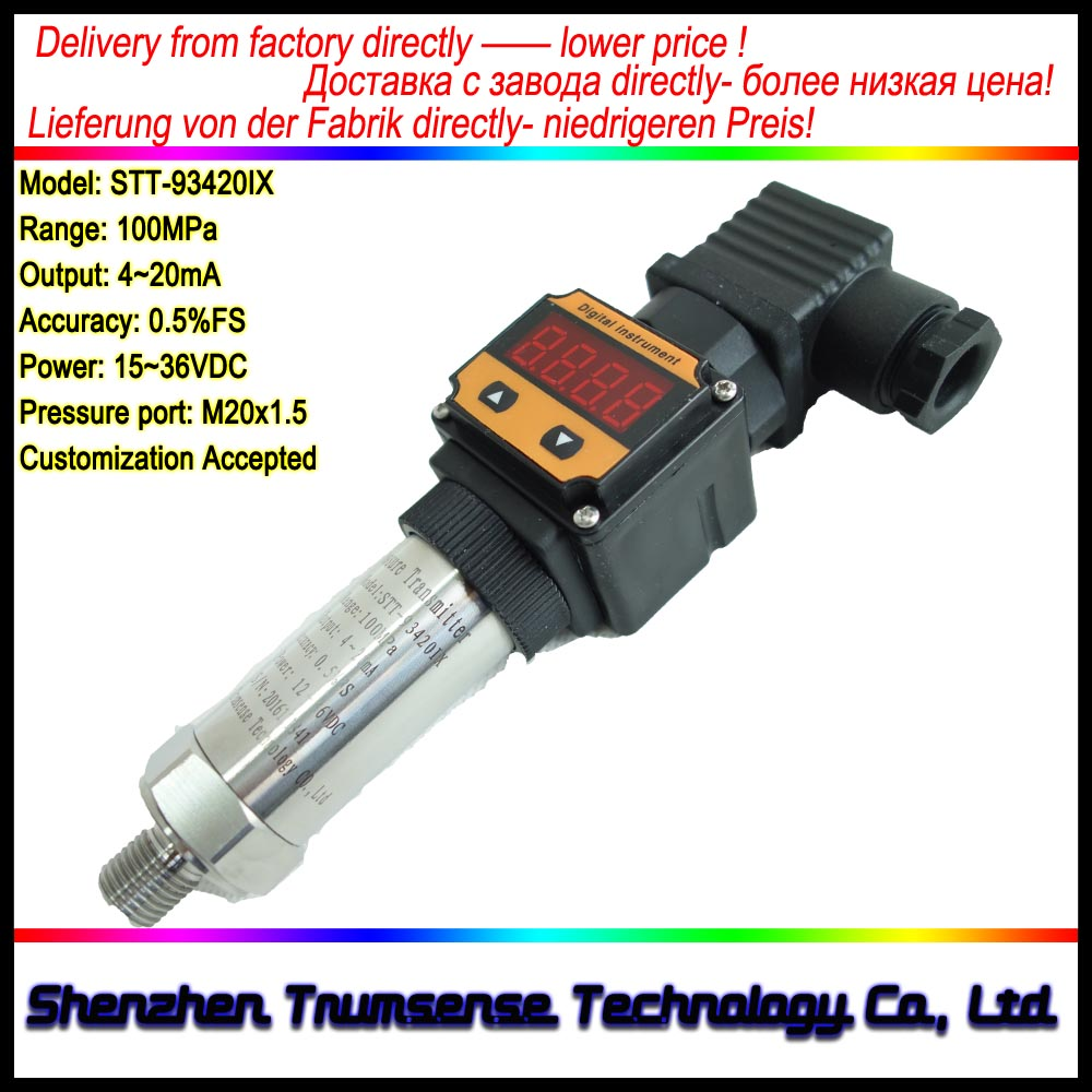 LED Diffused Silicon Digital Display Pressure Transducer Range 100Mpa Output 4~20mA Power 15~36VDC  Pressure Port  M20x1.5