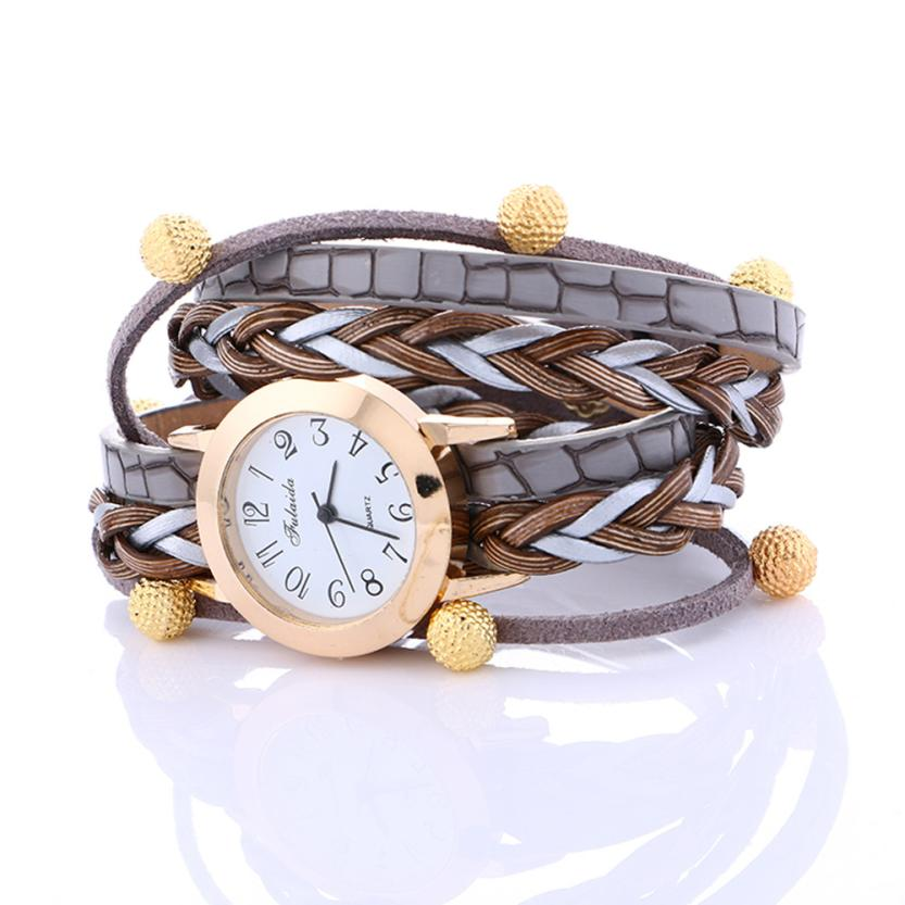 2017 NEW FULAIDA Fashion Wrap Weaving Around Fashion Bracelet Lady Womans Wrist Watch L1093