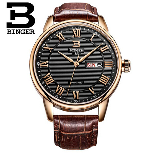 Binger Rose Gold Watch Men Top Brand Luxury Famous Male Clock Quartz Watches Golden Wristwatch Quartz