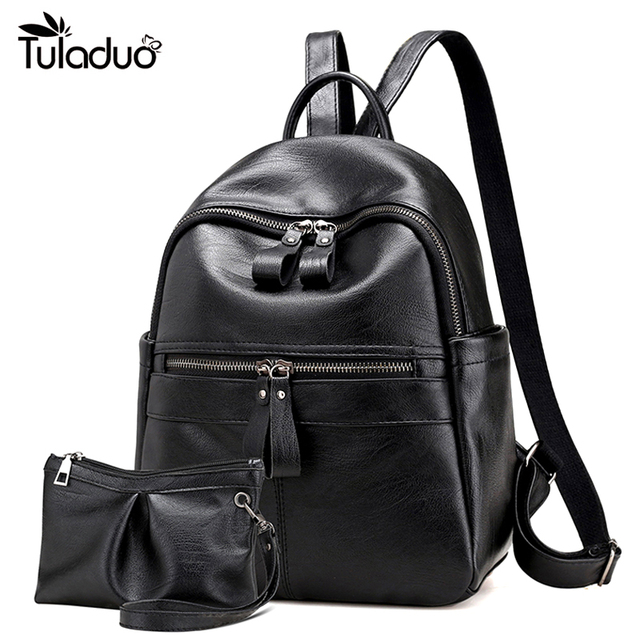 a79b86db5006 Women Leather Backpack Double Zipper School Bags For Teenagers Casual  Travel Computer Laptop Bag Black Women Shoulder Bag