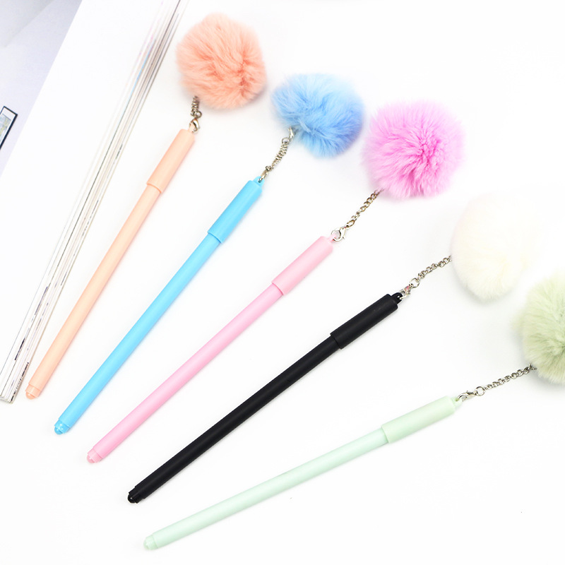 1pcs 0.5mm Black Ink Girl Women Faux Fur Pom Pom Ball Pendant Gel Ink Pen HOT Goodish Free Shipping