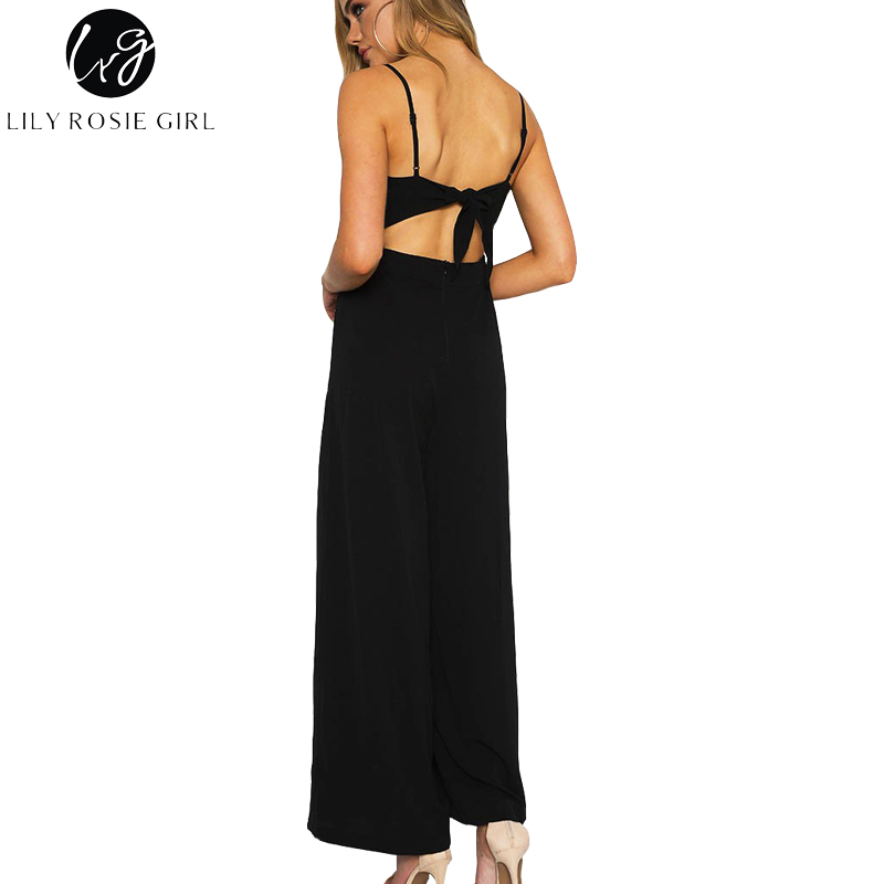 Lily Rosie Girl Black Off Shoulder Jumpsuits Women Summer Beach Sexy Strap Long Rompers Playsuits Backless Bow Overalls