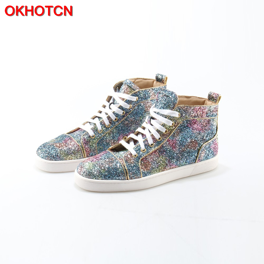 OKHOTCN New Unisex men'sLoafers Bling Shinny Glitter Blue High Top Mens Shoes Fashion Crystal Lace-Up Luxury Designer Shoes Men new fashion unisex high top casual shoes for men pu leather lace up white black color mens high top shoes