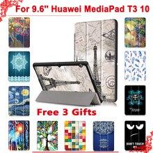 """Чехол для huawei MediaPad T3 10 AGS-L09 AGS-L03 9,"""" планшетный ПК с подставкой, тонкий чехол для Honor Play Pad 2 9,6+ Бесплатный 3 подарка"""