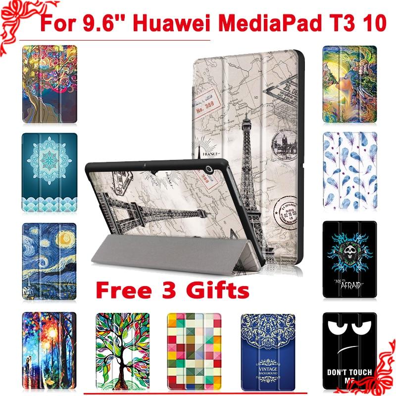 Caso de la cubierta para Huawei MediaPad T3 10 AGS-L09 AGS-L03 9,6 Tablet PC soporte caso slim para Honor juego Pad 2 9,6 + gratis 3 regalos