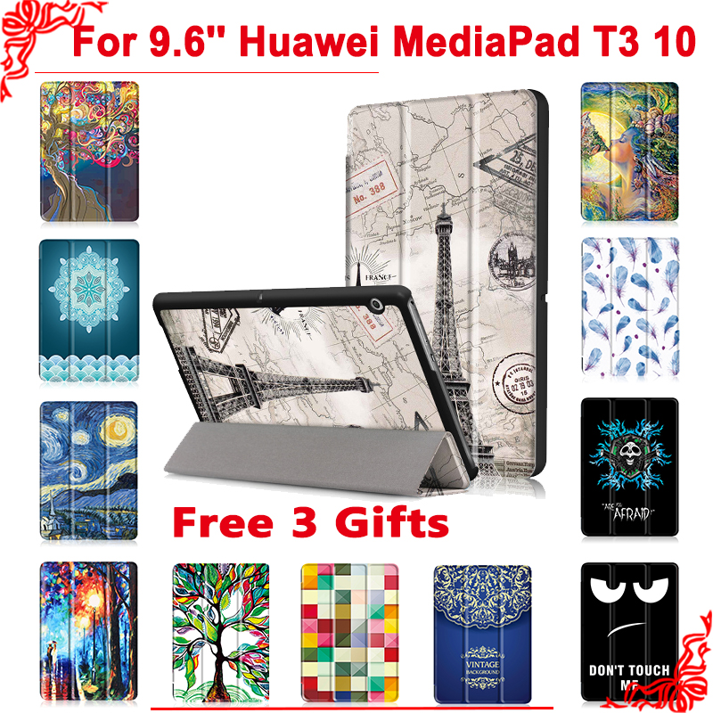 Cover case For Huawei MediaPad T3 10 AGS-L09 AGS-L03 9.6Tablet PC stand slim case for Honor Play Pad 2 9.6 + free 3 gifts folio slim cover case for huawei mediapad t3 7 0 bg2 w09 tablet for honor play pad 2 7 0 protective cover skin free gift