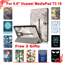 "Cover case For Huawei MediaPad T3 10 AGS-L09 AGS-L03 9.6""Tablet PC stand slim case for Honor Play Pad 2 9.6 + free 3 gifts(China)"