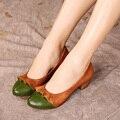 2017 Primavera Mulheres Sapatos de Couro Genuíno Das Mulheres Bombas Cores Misturadas Saltos Baixos Confortáveis Handmade Estilo Vintage