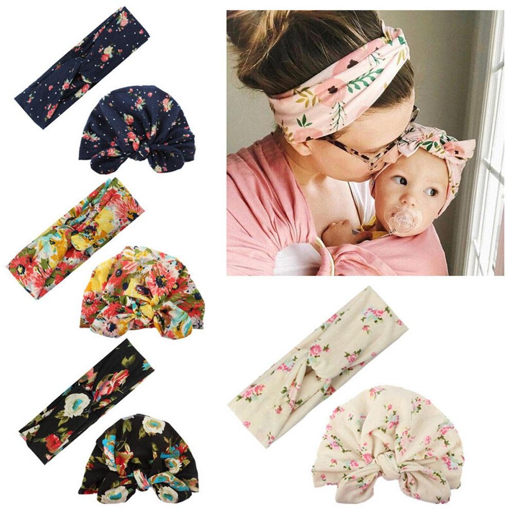 2019 New Arrival Baby Headband Print Cute Newborn Toddler Kids Baby Boy Girl Turban Cotton Beanie Hat Winter Warm Cap Flower