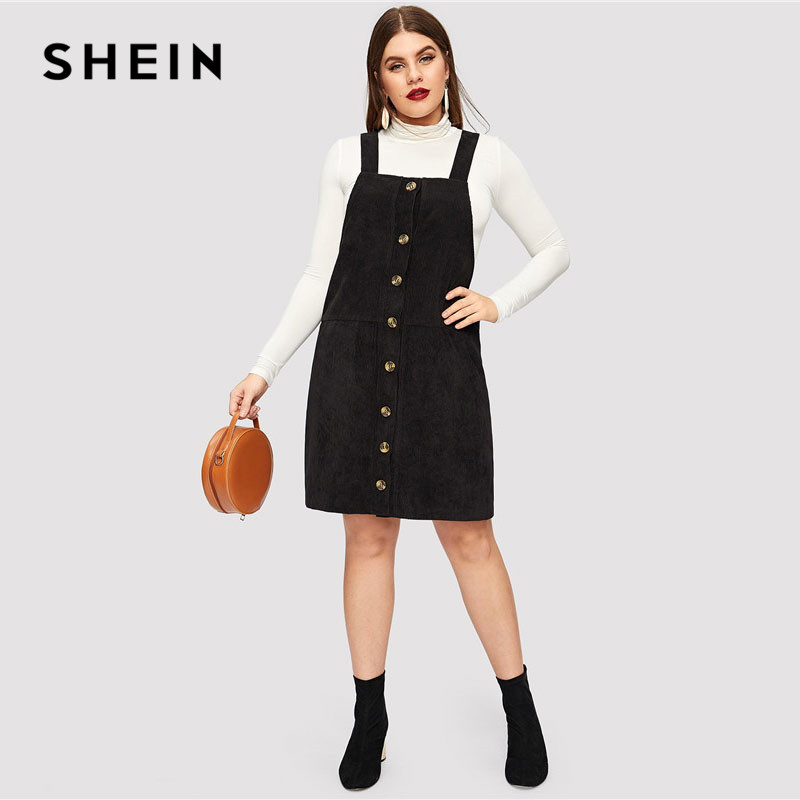 SHEIN Black Plus Size Thick Strap Button Up Cord Overall Short Dress Women  Spring Casual Regular Fit H Line Sleeveless Dresses