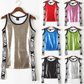 NEW arrival summer style tank top women's tanks Casual fitness women crop top with gold red black Punk hip hop dance tank tops
