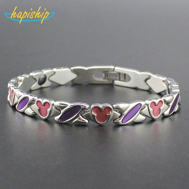Hapiship2017 New Women/Men's 7 Magnet Cell Titanium Steel Health Care Bracelet Bangle Wholesale Drop Shipping TG4604