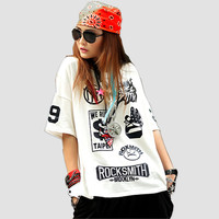 JUST.BE.NEVER Hip Hop T shirt Harajuku Punk Black White tShirts Rock Smith Letter Print women summer tees kpop hipster cute tops