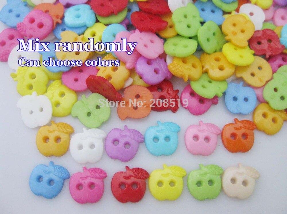 NBNVAV 1/2 kids cloth buttons multicolors 200pcs apple shape plastic sewing craft flatback