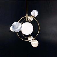 IKVVT 2019 New Design Modern Simple Pendant Lights Wandering Earth Pendant Lamp Creative Golden Metal Restaurant Livingroom Lamp