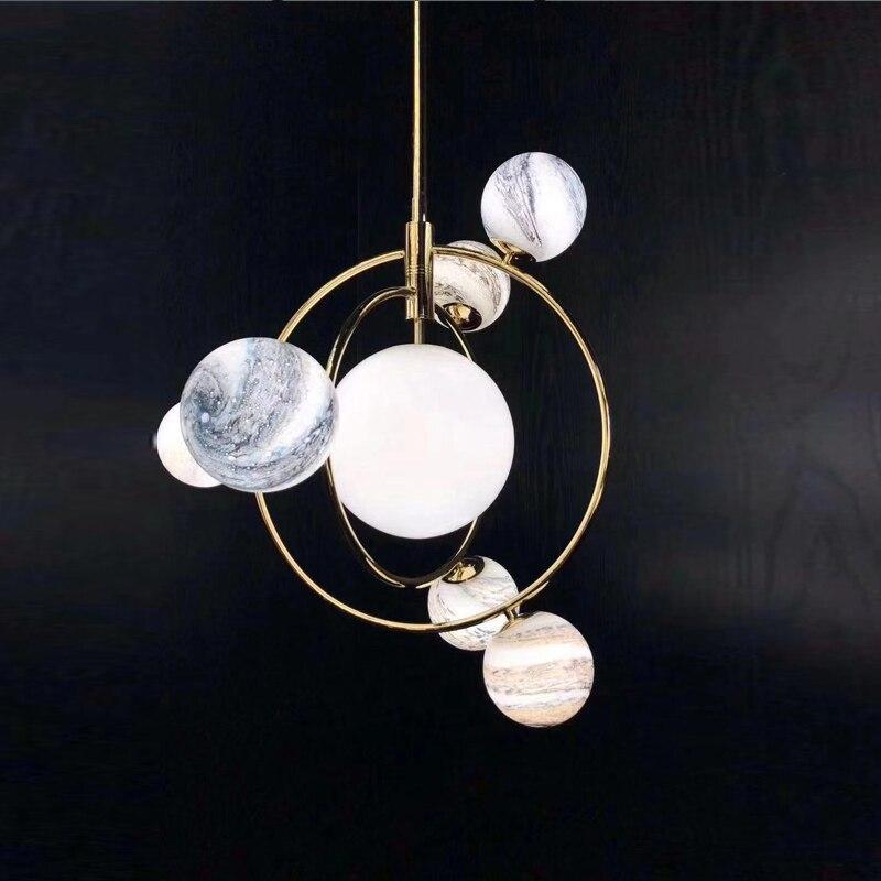IKVVT 2019 New Design Modern Simple Pendant Lights Wandering Earth Lamp Creative Golden Metal Restaurant Livingroom