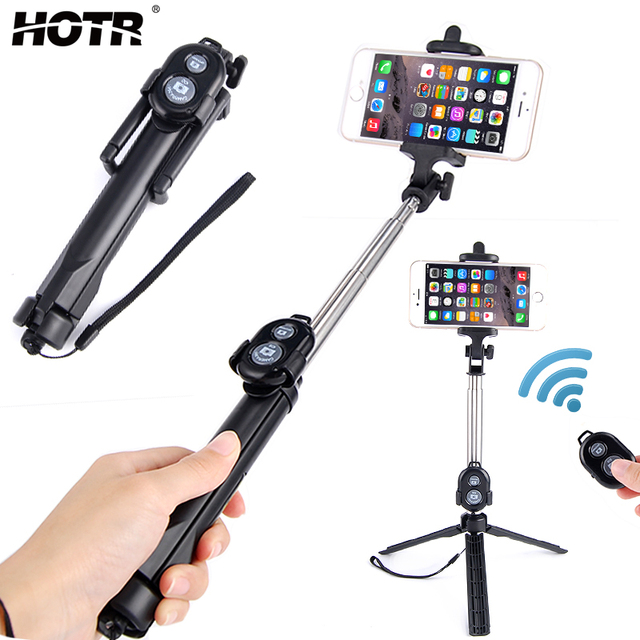 bcb12d3788ec10 Selfie Stick Tripod with Bluetooth Remote Control Button Wireless Selfie  Stick Android IOS Monopod Tripod for