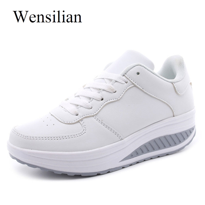 super populaire 01831 8846d Fashion Women Summer Platform Sneakers Basket Femme White Shoes Wedges Lace  Up Trainers Women Casual Shoes Sapato Feminino - RealShoppi.com