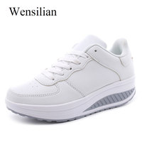 Fashion Women Summer White Sneakers Platform Shoes Basket Femme Wedges Lace Up Trainers Women Casual Shoes