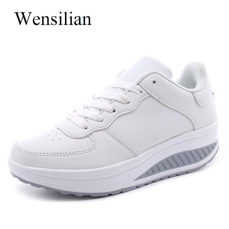 Mode Femmes D'été Plate-Forme Sneakers Panier Femme Blanc Chaussures Compensées à Lacets Baskets Femmes Casual Chaussures Sapato Feminino