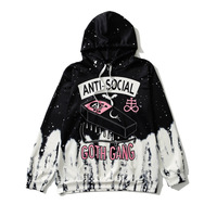 شارع القوطية الأسود الأبيض هوديس النساء ANTI-SOCIAL القوطي عصابة إلكتروني طباعة البلوز فتاة باردة أسلوب الشارع فضفاض هوديي