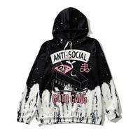 Street Gothic Black White Hoodies Women ANTI SOCIAL GOTH GANG Letter Print Sweatshirt Girl Cool Street Style Loose Hoodie