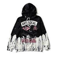 Street Gothic Tie Dye Hoodies Women ANTI SOCIAL GOTH GANG Letter Alien Print Sweatshirt Girl Hip Hop Loose Hoodie Rap Clothes