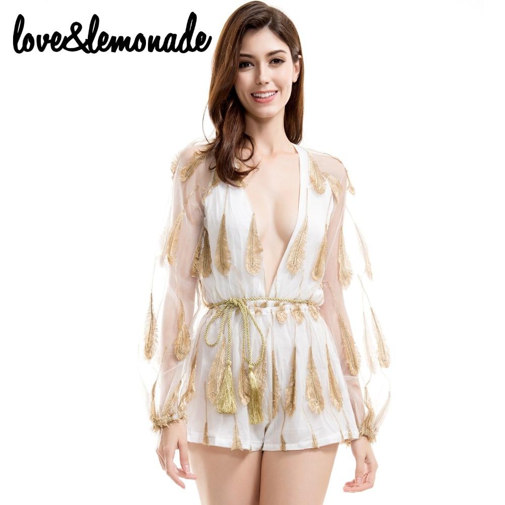 Love&Lemonade Golden Feather V-Neck Lantern Sleeve   Jumpsuits   TB 9150