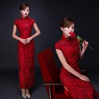 Summer New Chinese Traditional Dress Red Cheongsam Bride Wedding Qipao Party Dress Women Long Slim Rose