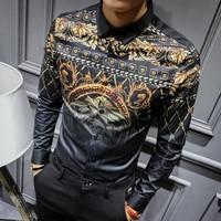 2018 Social Club Mens Gold Shirts Baroque Shirts Mens Designer Shirts Mens Luxury Camisa Slim Fit