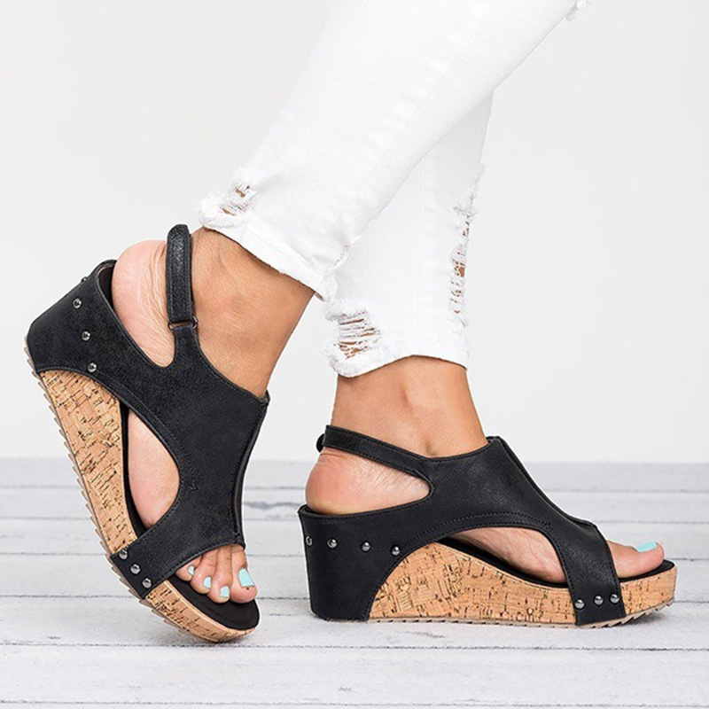 Wedge Sandals Shoes Women Comfortable Fish-Mouth High-Casual Summer 7cm Vintage