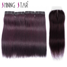 Dark Purple Brazilian Hair Weave 4 Bundles With Closure Straight Human Hair Purple Red Bundles With Closure NoRemy Shining Star(China)