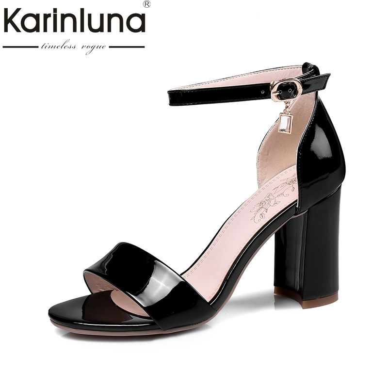 KARINLUNA 2018 Top Quality Big Size 32-43 Fashion Sandals Shoes Woman Square High Heels Ankle Strap Women Shoes Footwear rousmery 2017 ankle wrap rhinestone high heel sandals woman abnormal jeweled heels gladiator sandals women big size 43