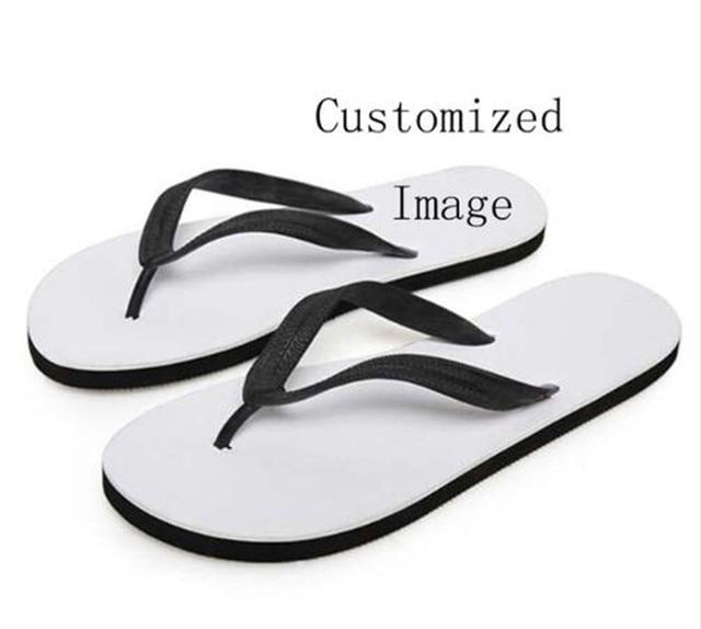 Customized Image LOGO Print Summer Beach Flip Flops Women Slippers Sandals Painting Art Printing Lady Flats Shoes