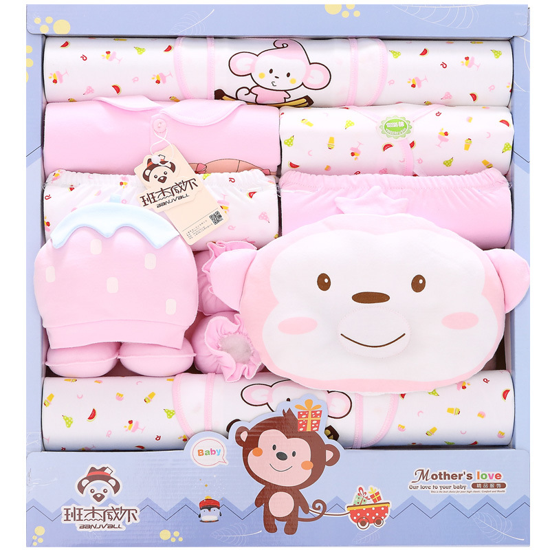 ФОТО 18Pcs/Lot 2017 Newborn Baby Girl Clothes Autumn Cartoon Monkey Gift Box Set Cotton Character Baby Boy Clothes