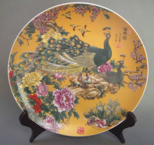 Beautiful Chinese Antiques Famille Rose Porcelain Plates Painted Peacock Qianlong Mark-in Bowls u0026 Plates from Home u0026 Garden on Aliexpress.com   Alibaba ... & Beautiful Chinese Antiques Famille Rose Porcelain Plates Painted ...