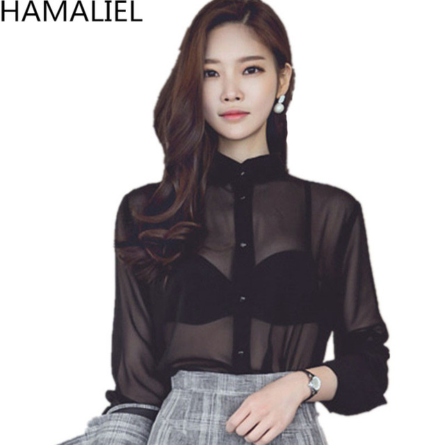 Fashion Sexy Aummer Women Blouse Top 2018 Perspective Black Chiffon Stand  Collar Button Ladies Transparent Long Sleeve Blusas 4995614f8eb0