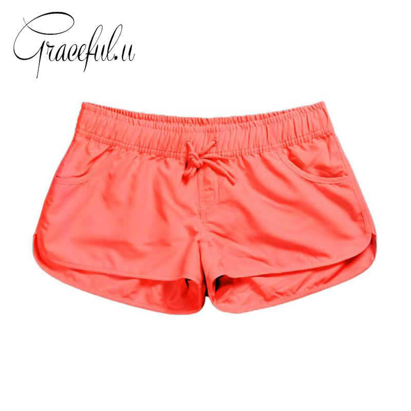 34aa4a1621 2019 Summer Women Swim Short Solid Color Quick Dry Womens Swimming Shorts  Beachwear Sportswear Shorts Swimsuit