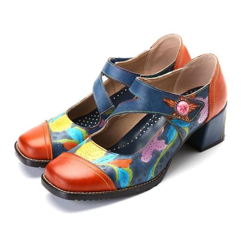 Cuir Chunky Mixed Mary De Mode Color En Fleur Talons Nouvelle Jane Femmes Buonoscarpe Patchwork Couleur Pompes Fretwork Chaussures Main qgx6WFqt