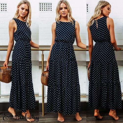 2019 Bobo Women Dark Blue Boho Loose Sleeveless Holiday Dot Print Long Maxi Dress Evening Party Beach Dresses Summer Sundress