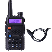 Baofeng UV-5R Black Dual Band Walkie talkie With Free Programming cable CB radio Transceiver UHF and VHF Walkie talkie