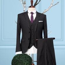 Brand clothing2016stripes men formal business wedding dress suit sets single breasted coat+vest+pant men slim fit groom suits