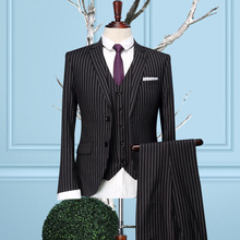 Brand clothing2016stripes men formal business wedding dress suit sets single breasted coat vest pant men slim