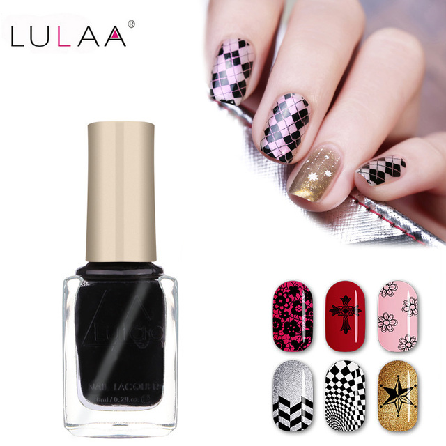 Lulaa Nail Polish Stamp Art 12 Colors 6ml Diy Stamping Lacquer For Gift