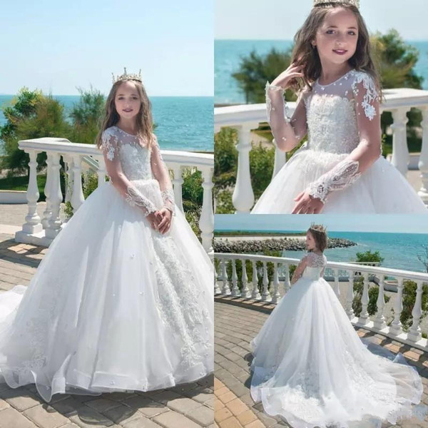 2018   Flower     Girl     Dresses   Long Sleeves White Ivory Tulle Ball Gown Sheer Neck Court Train Princess Pageant Little Princess Bride