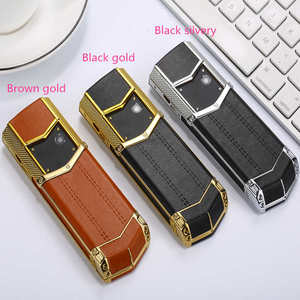 Image 4 - Clearance sale Luxury metal+leather mobile phone original china gsm gift Phone dual sim Cell Phones bluetooth mp3 K8 K6 phone