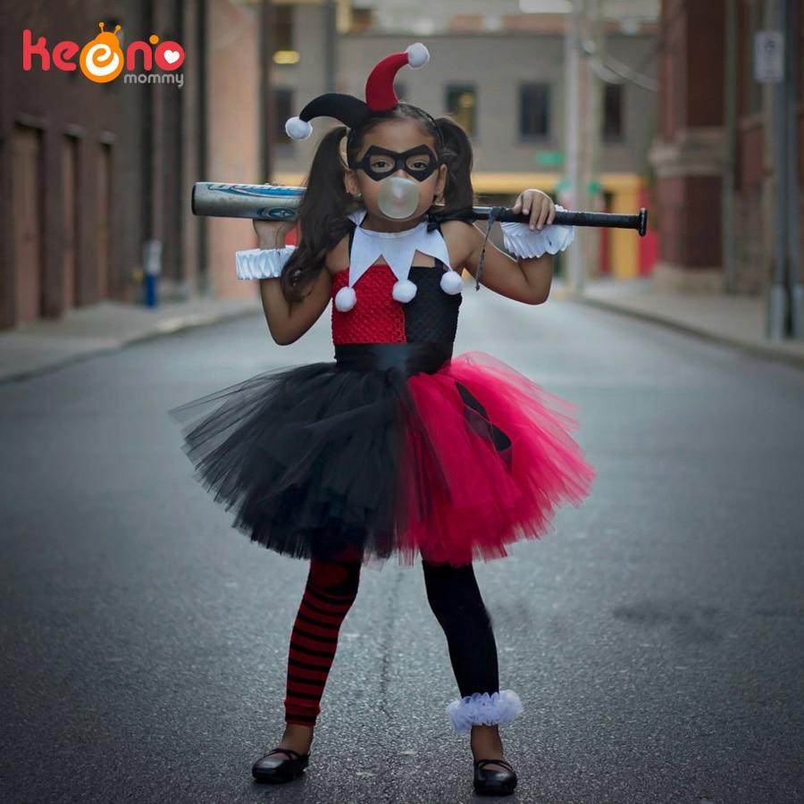 Harley quinn meninas tutu vestido com bandana e máscara coringa fantasia crianças dia das bruxas aniversário traje crianças festa foto vestido