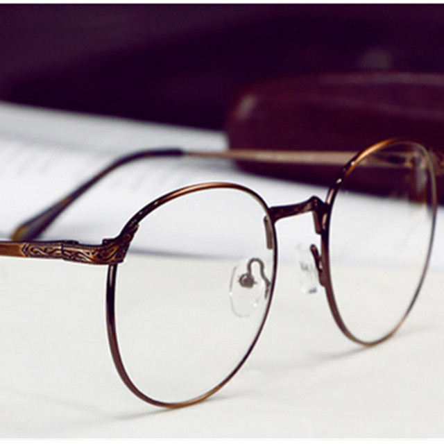 Blue Light Glasses Circle Frame Retro Round eyewear Frame Women Metal Eyeglasses Optical Prescription Lens Plain Mirror for men